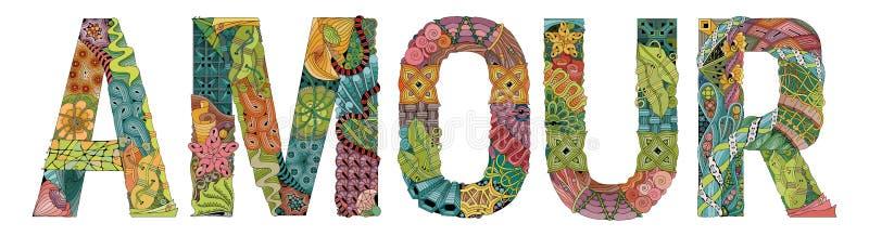ΕΡΩΤΟΔΟΥΛΕΙΑ λέξης για το χρωματισμό Διανυσματικό διακοσμητικό αντικείμενο zentangle διανυσματική απεικόνιση