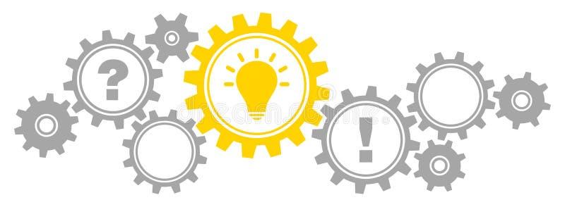 Ερώτησης-απάντησης γκρίζος ιδέας γραφικής παράστασης συνόρων εργαλείων και κίτρινος απεικόνιση αποθεμάτων