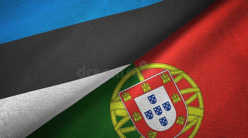 Εσθονία και Πορτογαλία δύο υφαντικό ύφασμα σημαιών, σύσταση υφάσματος διανυσματική απεικόνιση