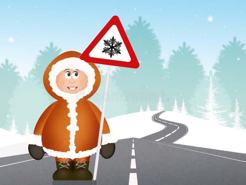 Εσκιμώος με το χιόνι κινδύνου οδικών σημάτων ελεύθερη απεικόνιση δικαιώματος