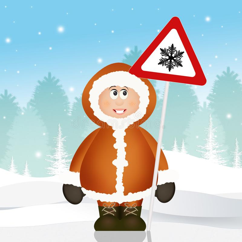Εσκιμώος με το χιόνι κινδύνου οδικών σημάτων διανυσματική απεικόνιση