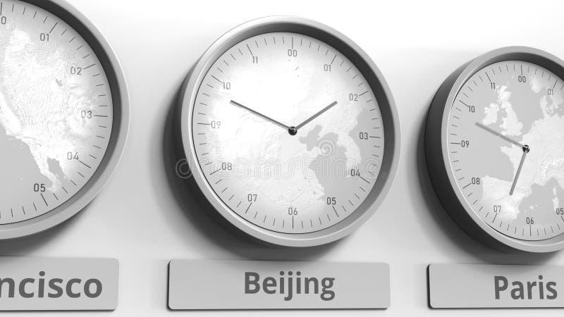 Εστίαση στο ρολόι χρόνος που παρουσιάζει Πεκίνου, Κίνα τρισδιάστατη εννοιολογική απόδοση ελεύθερη απεικόνιση δικαιώματος