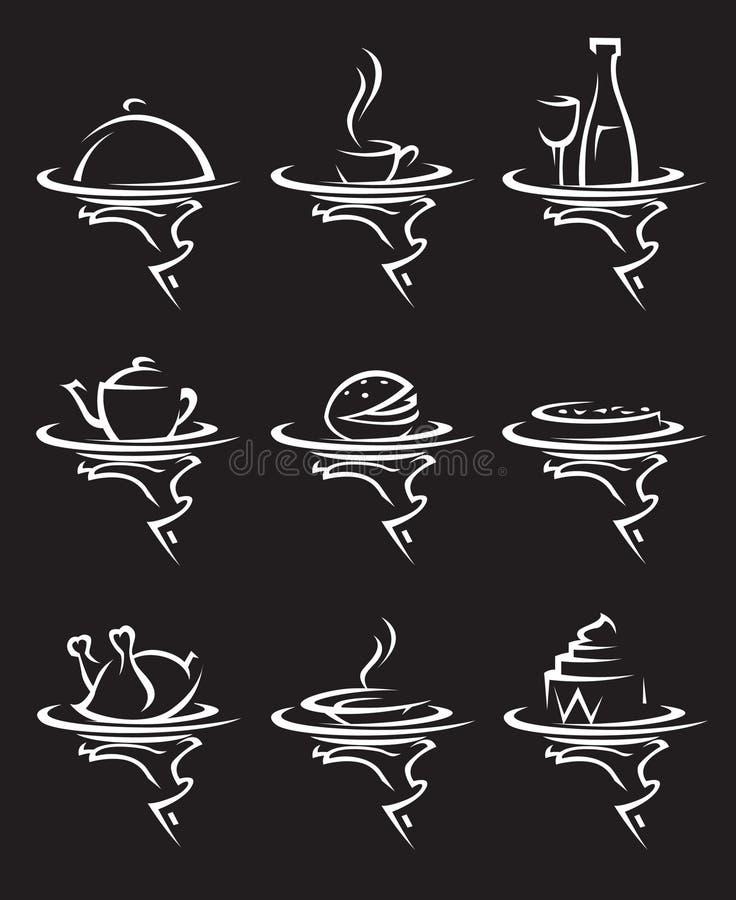 εστιατόρια εικονιδίων π&omicr απεικόνιση αποθεμάτων