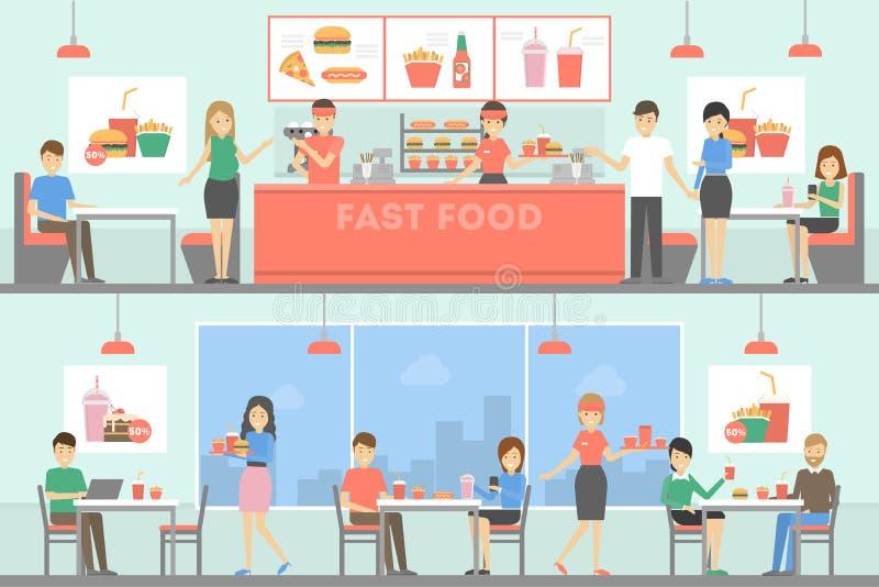 Εστιατόριο γρήγορου φαγητού απεικόνιση αποθεμάτων