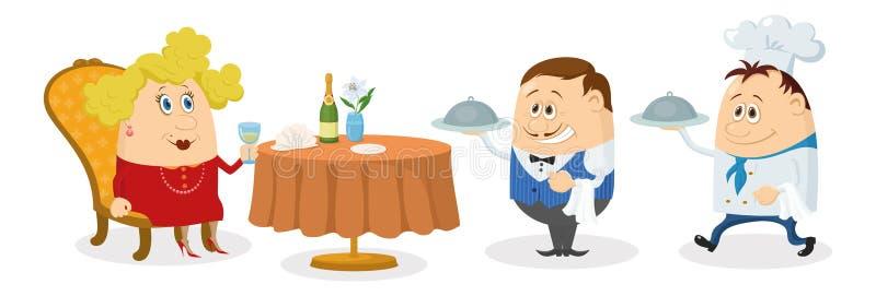 Εστιατόριο, γυναίκα, σερβιτόρος και μάγειρας διανυσματική απεικόνιση