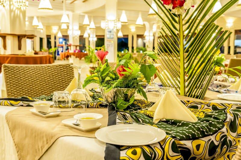 Εστιατόριο ενός αφρικανικού θερέτρου στοκ εικόνες