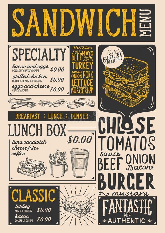 Εστιατόριο επιλογών σάντουιτς, πρότυπο τροφίμων ελεύθερη απεικόνιση δικαιώματος