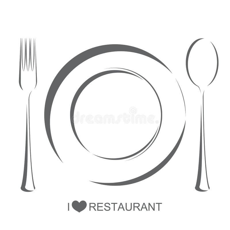 Εστιατόριο, κουτάλι δικράνων πιάτων απεικόνιση αποθεμάτων