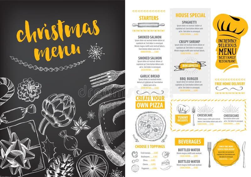 Εστιατόριο πρόσκλησης γιορτής Χριστουγέννων Ιπτάμενο τροφίμων ελεύθερη απεικόνιση δικαιώματος