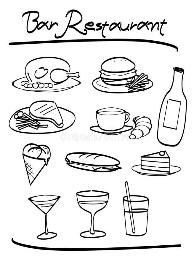 εστιατόριο στοιχείων ράβ&de απεικόνιση αποθεμάτων