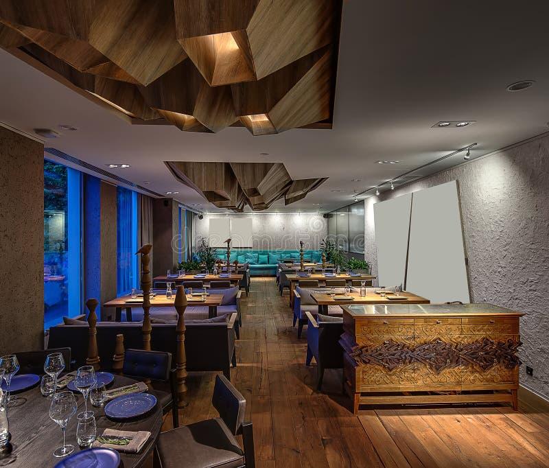 Εστιατόριο στο σύγχρονο ύφος στοκ εικόνες με δικαίωμα ελεύθερης χρήσης
