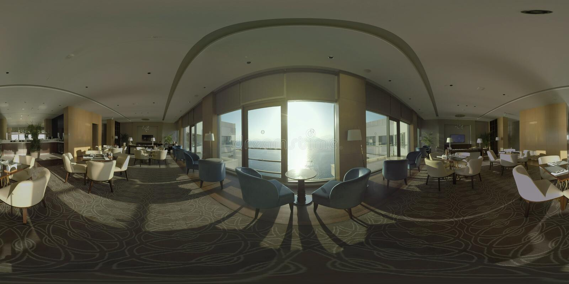 Εστιατόριο 360 VR που αγνοεί τη θάλασσα στο τελευταίο όροφο ξενοδοχείων στοκ εικόνες