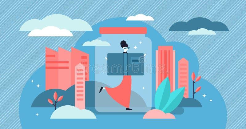 Εσωστρεφής διανυσματική απεικόνιση Επίπεδη μικροσκοπική έννοια προσώπων τύπων προσωπικότητας απεικόνιση αποθεμάτων