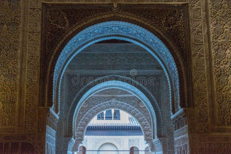 Εσωτερικά παλάτια Nasrid διακοσμήσεων, Alhambra, Γρανάδα στοκ φωτογραφία με δικαίωμα ελεύθερης χρήσης