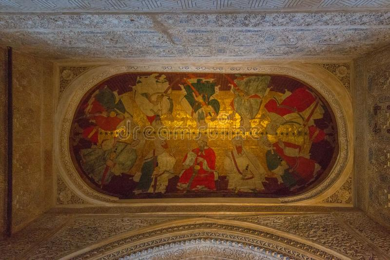 Εσωτερικά παλάτια Nasrid διακοσμήσεων, Alhambra, Γρανάδα στοκ εικόνες