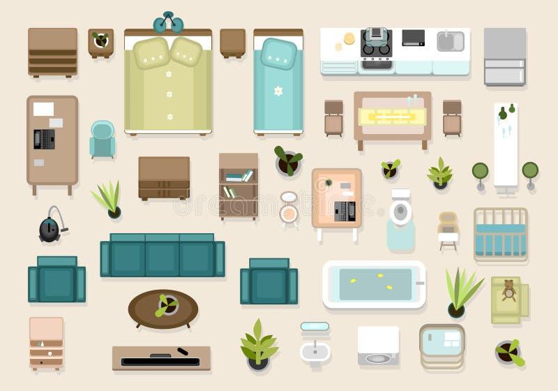 Εσωτερικά τοπ στοιχεία άποψης καθορισμένα Κρεβατοκάμαρα, βρεφικός σταθμός, που ζει roon, Κ απεικόνιση αποθεμάτων