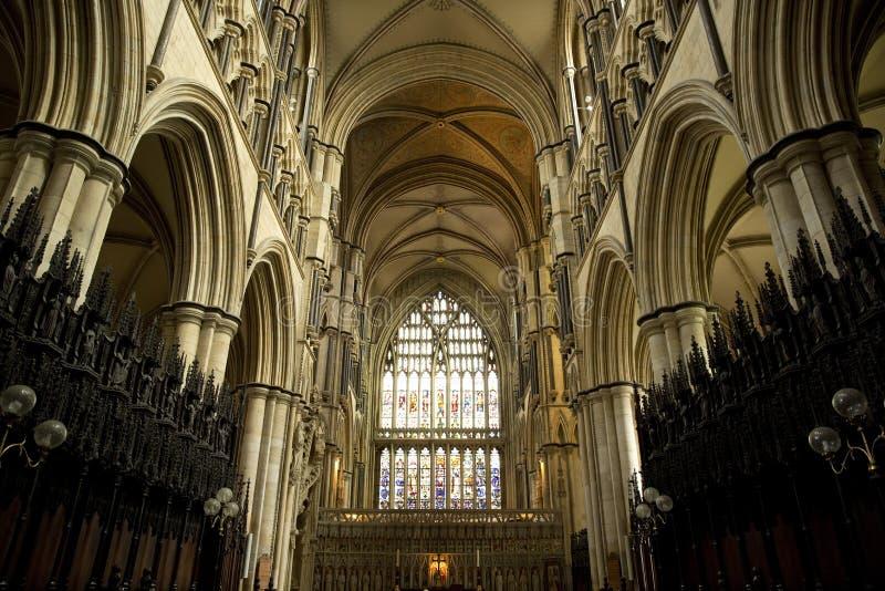 Εσωτερική άποψη ανατολικού άκρους του μοναστηριακού ναού Beverely από τη χορωδία, Beverley, ανατολική οδήγηση του Γιορκσάιρ, UK - στοκ εικόνες με δικαίωμα ελεύθερης χρήσης
