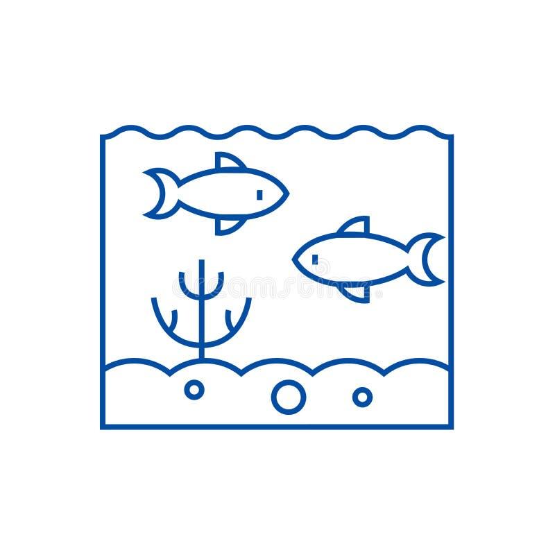 Εσωτερική έννοια εικονιδίων γραμμών του ορίζοντα Μέσα στο επίπεδο διανυσματικό σύμβολο θάλασσας, το σημάδι, περιγράφει την απεικό ελεύθερη απεικόνιση δικαιώματος