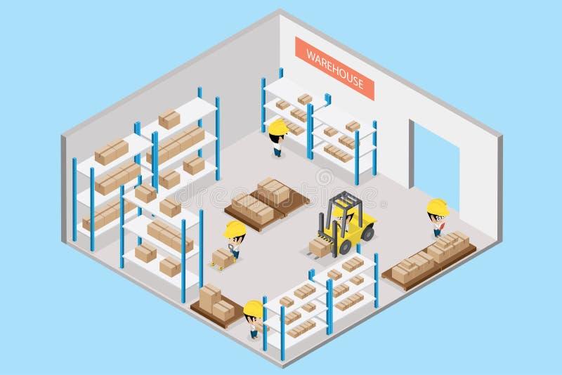Εσωτερική αποθήκη εμπορευμάτων με τον εργαζόμενο, isometric άποψη απεικόνιση αποθεμάτων