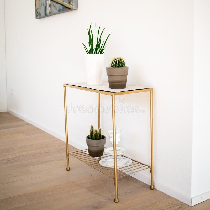 Εσωτερική διακόσμηση  χρυσός-μαρμάρινος δευτερεύων πίνακας με τις εσωτερικές εγκαταστάσεις στο πάτωμα παρκέ στοκ εικόνες