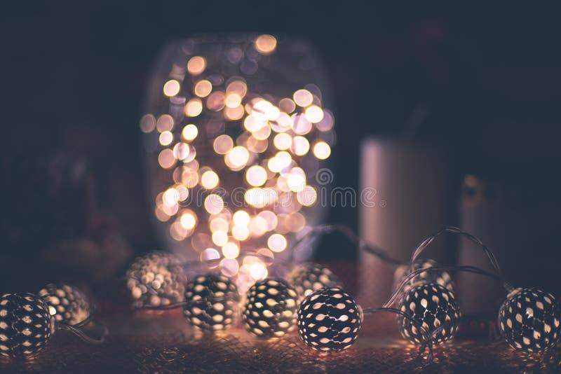 Εσωτερική διακόσμηση ύφους ρομαντικού χειμώνα και του νέου έτους στοκ εικόνες