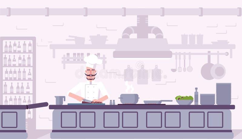 Εσωτερική διανυσματική απεικόνιση κουζινών εστιατορίων διανυσματική απεικόνιση