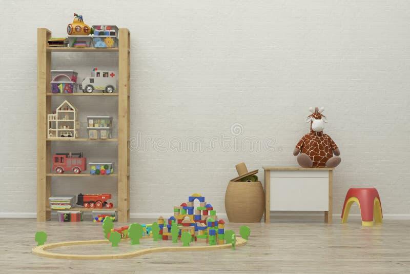 Εσωτερική εικόνα δωματίων παιχνιδιών παιδιών τρισδιάστατη απόδοση στοκ φωτογραφίες με δικαίωμα ελεύθερης χρήσης