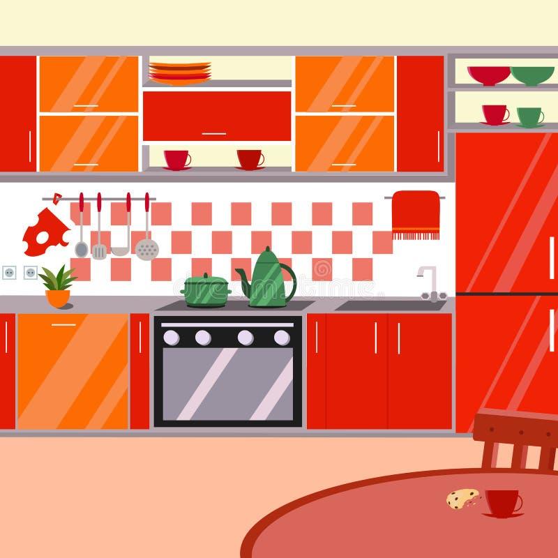 Εσωτερική διανυσματική απεικόνιση κουζινών Επίπεδο ύφος κινούμενων σχεδίων απεικόνιση αποθεμάτων
