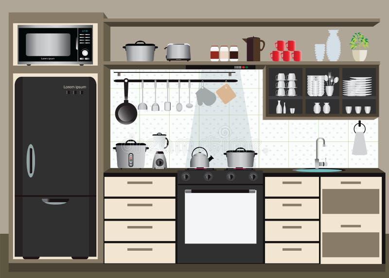 Εσωτερική κουζίνα με τα ράφια κουζινών ελεύθερη απεικόνιση δικαιώματος