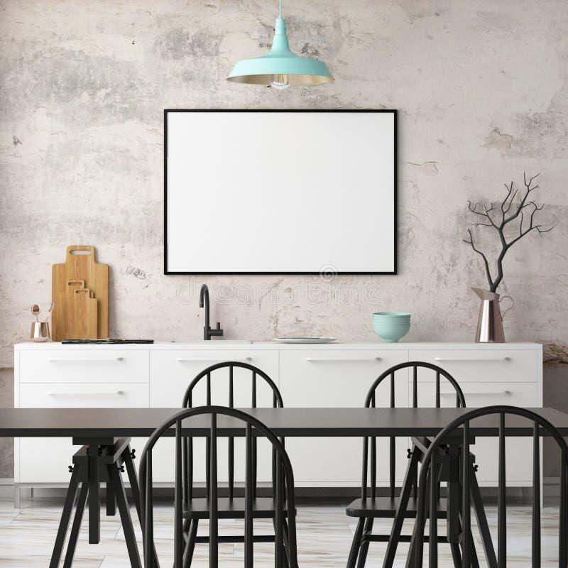 Εσωτερική κουζίνα προτύπων στο ύφος σοφιτών τρισδιάστατη απόδοση τρισδιάστατη απεικόνιση διανυσματική απεικόνιση