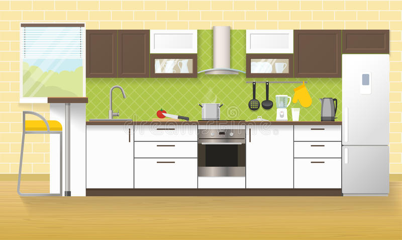 εσωτερική κουζίνα σύγχρ&omi ελεύθερη απεικόνιση δικαιώματος