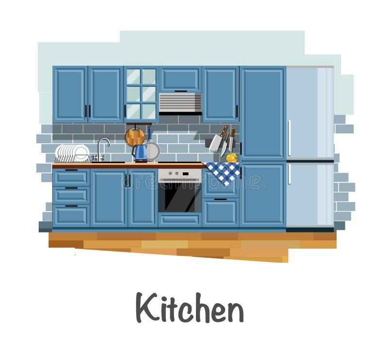 εσωτερική κουζίνα ελεύθερη απεικόνιση δικαιώματος