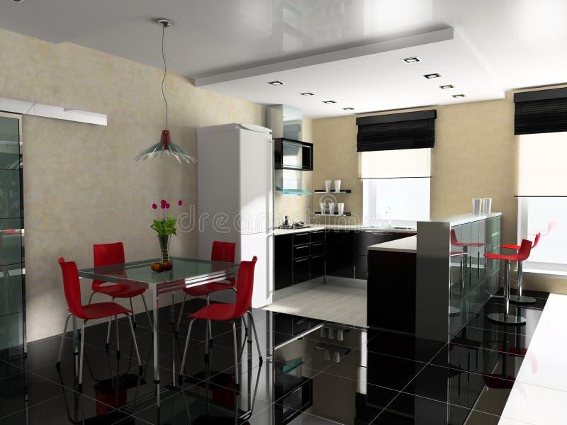 εσωτερική κουζίνα διανυσματική απεικόνιση