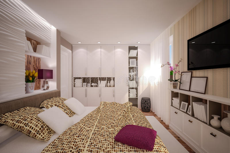Εσωτερική κρεβατοκάμαρα στο σύγχρονο ύφος στοκ φωτογραφία με δικαίωμα ελεύθερης χρήσης