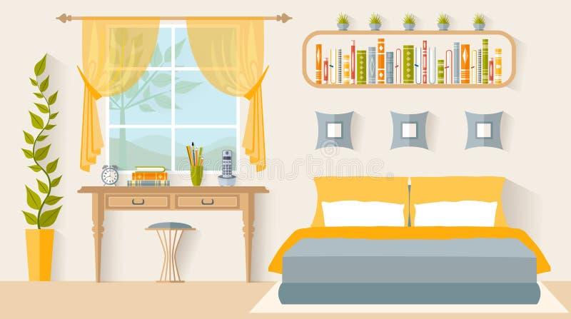 Εσωτερική κρεβατοκάμαρα σχεδίου με έναν εργασιακό χώρο διάνυσμα διανυσματική απεικόνιση