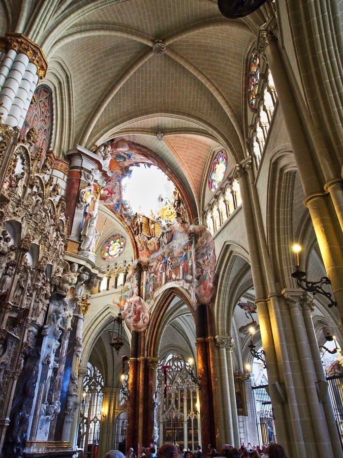 Εσωτερική λεπτομέρεια, γοτθικός καθεδρικός ναός του Τολέδο, Ισπανία στοκ φωτογραφία