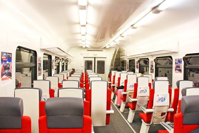 Εσωτερική μεταφορά του σαφούς τραίνου AEROEXPRESS από τη Μόσχα στοκ φωτογραφία με δικαίωμα ελεύθερης χρήσης
