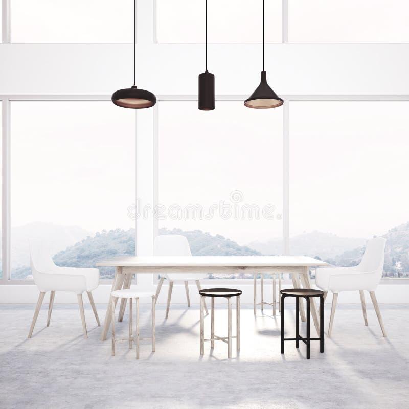 Εσωτερική, ξύλινη επιτραπέζια πλάγια όψη τραπεζαρίας σοφιτών ελεύθερη απεικόνιση δικαιώματος