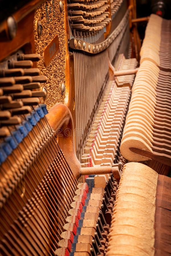Εσωτερική παλαιά άποψη πιάνων στοκ φωτογραφίες