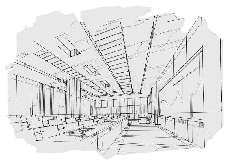 Εσωτερική τάξη προοπτικής σκίτσων, γραπτό εσωτερικό σχέδιο ελεύθερη απεικόνιση δικαιώματος