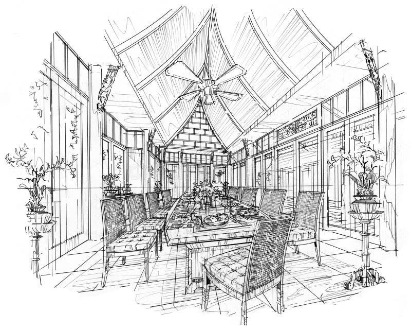 Εσωτερική τραπεζαρία προοπτικής σκίτσων, γραπτό εσωτερικό σχέδιο διανυσματική απεικόνιση