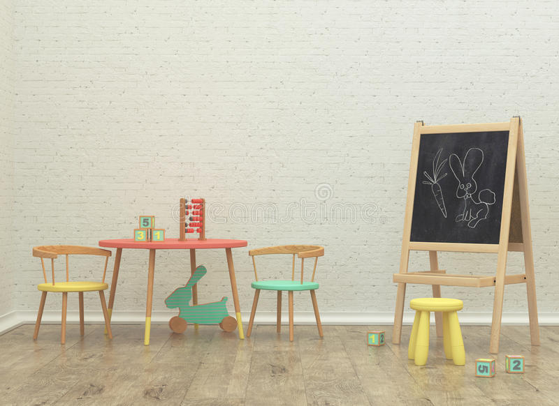 Εσωτερική τρισδιάστατη δίνοντας εικόνα δωματίων παιχνιδιών παιδιών στοκ εικόνα με δικαίωμα ελεύθερης χρήσης