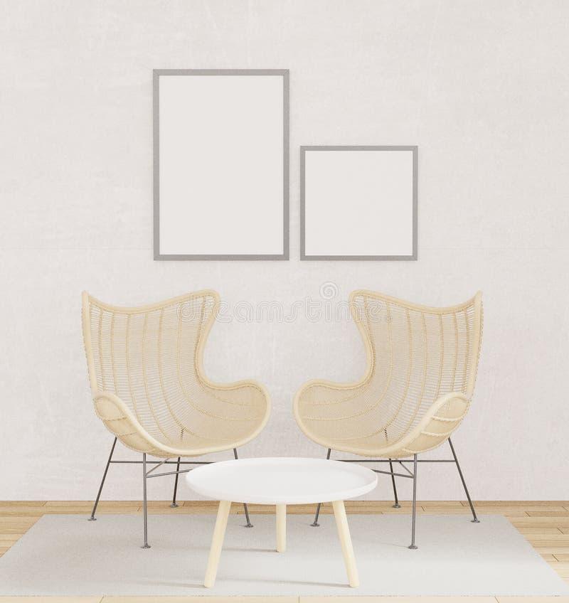 Εσωτερική χλεύη αφισών επάνω με δύο καρέκλες, ξύλινο πάτωμα, τάπητας στο καθιστικό με την ακατέργαστη τρισδιάστατη απόδοση ύφους  ελεύθερη απεικόνιση δικαιώματος