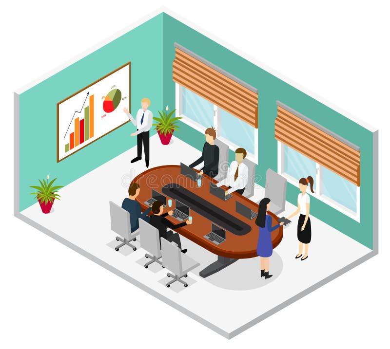 Εσωτερική Isometric άποψη αίθουσας συνδιαλέξεων γραφείων διάνυσμα ελεύθερη απεικόνιση δικαιώματος