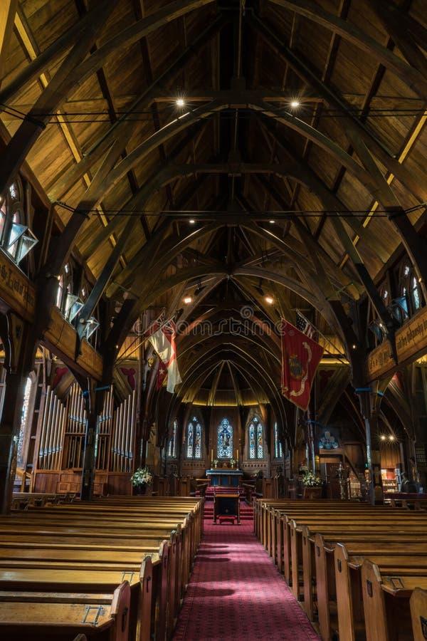 Εσωτερικοί παλαιοί εκκλησία του Saint-Paul, σηκός, ιερό και βωμός, Wellingto στοκ φωτογραφίες