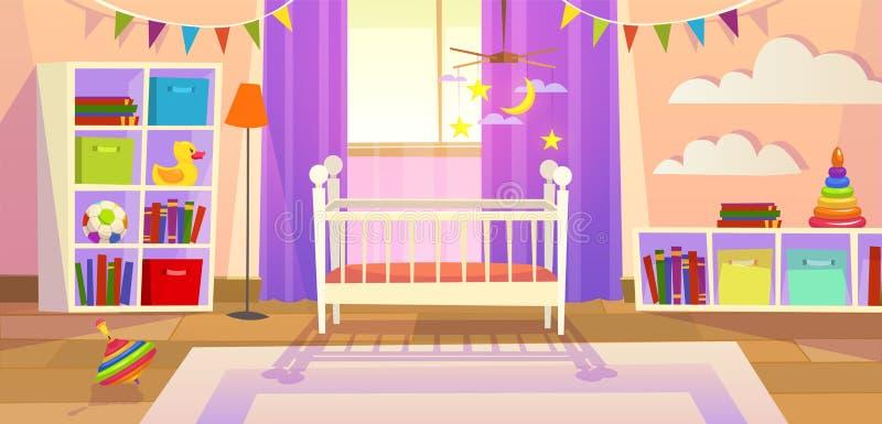 Δωμάτιο μωρών Εσωτερικός βρεφικών σταθμών χώρος για παιχνίδη παιδιών οικογενειακού τρόπου ζωής παιχνιδιών παιδιών κουνιών επίπλων ελεύθερη απεικόνιση δικαιώματος