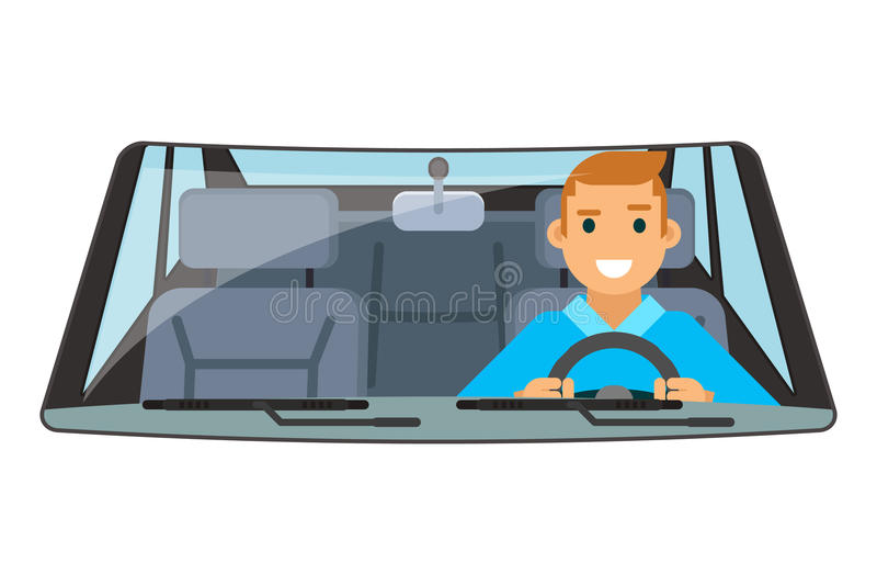 Εσωτερικός γύρος ροδών αυτοκινήτων οδηγών οχημάτων που οδηγεί την απομονωμένη επίπεδη διανυσματική απεικόνιση σχεδίου ελεύθερη απεικόνιση δικαιώματος
