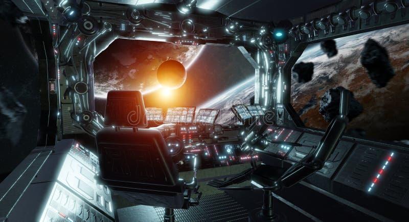 Εσωτερικός θάλαμος ελέγχου διαστημοπλοίων grunge με την άποψη σχετικά με τα διαστημικά τρισδιάστατα δίνοντας στοιχεία αυτής της ε ελεύθερη απεικόνιση δικαιώματος