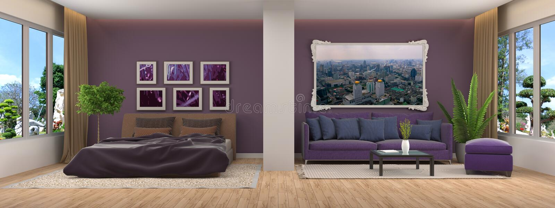εσωτερικός καναπές τρισδιάστατη απεικόνιση διανυσματική απεικόνιση