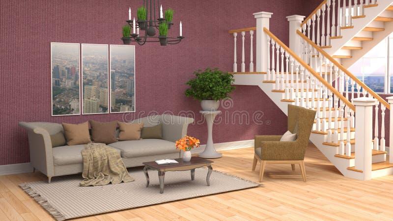 εσωτερικός καναπές τρισδιάστατη απεικόνιση ελεύθερη απεικόνιση δικαιώματος